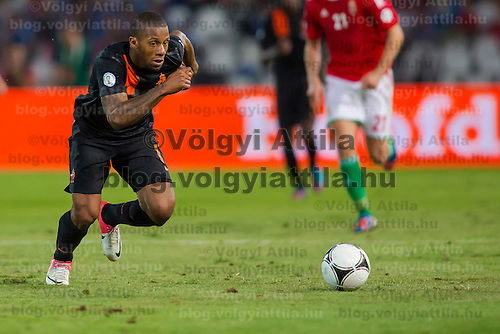 Netherlands' Jeremain Lens runs for the ball during a World Cup 2014 qualifying soccer match Hungary playing against Netherlands in Budapest, Hungary on September 11, 2012. ATTILA VOLGYI