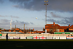 A ball flies though the air as players begin to warm up. Blyth Spartans v Brackley Town, 30112019. Croft Park, National League North. Photo by Paul Thompson.