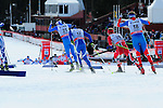 FALUN, SWEDEN - March 24: (L-R) Roland Clara of Italy (ITA), Matti Heikkinen of Finland (FIN), Sjur Roethe of Norway (NOR) and Dmitriy Japarov of Russia (RUS) during the Viessmann Men Handicap 15 km F at the FIS Cross country World Cup Final on March 24, 2013 in Falun, Sweden. (Photo by Dirk Markgraf)