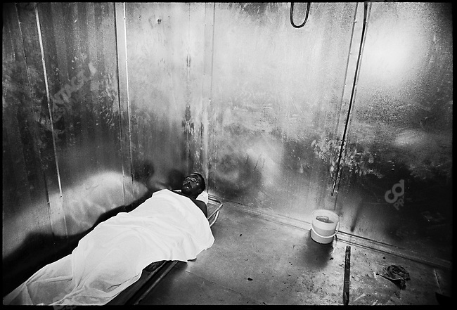 Body of anti-Apartheid leader Steven Biko  in a makeshift  morgue before his burial. Biko died September 12th from beatings after his arrest by South African police. <br />