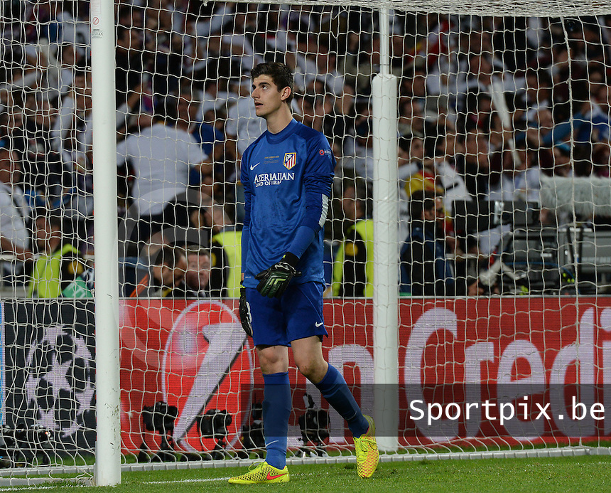 20140524 - LISBON , PORTUGAL : Atletico's goalkeeper Thibaut Courtois pictured during soccer match between Real Madrid CF and Club Atletico de Madrid in the UEFA Champions League Final on Saturday 24 May 2014 in Estadio Da Luz in Lisbon .  PHOTO DAVID CATRY