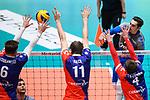 13.12.2017, Fraport Arena, Frankfurt<br />Volleyball, DVV-Pokal, Halbfinale, United Volleys RheinMain vs. VfB Friedrichshafen<br /><br />Block  / Dreierblock Robert Adrian Aciobanitei (#6 RheinMain), Tobias Krick (#11 RheinMain), Patrick Steuerwald (#4 RheinMain) - Angriff Athanasios Protopsaltis (#7 Friedrichshafen)<br /><br />  Foto &copy; nordphoto / Kurth