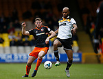Jack O'Connell of Sheffield Utd in action with Rigino Cicilia of Port Vale during the English League One match at Vale Park Stadium, Port Vale. Picture date: April 14th 2017. Pic credit should read: Simon Bellis/Sportimage