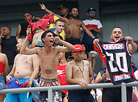 SANTA MARTA- COLOMBIA, 03-08-2019: Hinchas del Independiente Medellín ante el Unión Magdalena durante partido por fecha 4 de la Liga Águila II 2019 jugado en el estadio Sierra Nevada de la ciudad de Santa Marta. / Fans of Independiente Medellin agaisnt of Union Magdalena during match for the date 4 as part of the  Aguila League  II 2019 played at the Sierra Nevada Stadium in Santa Marta  city. Photo: VizzorImage / Gustavo Pacheco / Contribuidor