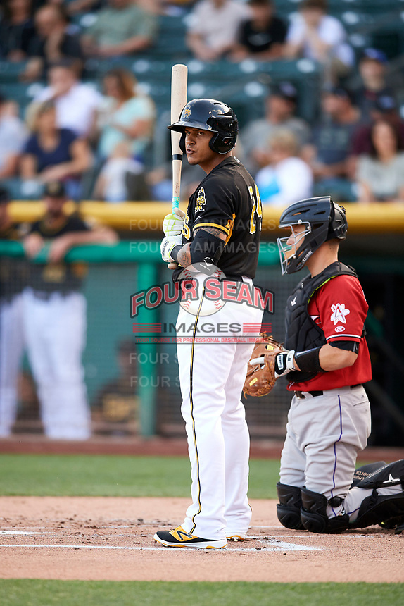 Jefry Marte (24) of the Salt Lake Bees bats against the Albuquerque Isotopes in Pacific Coast League action at Smith's Ballpark on June 10, 2017 in Salt Lake City, Utah. The Isotopes defeated the Bees 4-2. (Stephen Smith/Four Seam Images)