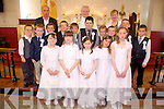 Pupils from both Castlegregory and Aughashla national schools who made their communion together in St. Mary's Church, Castlegregory, on Saturday. Front l-r: Claire McCormack, Caoimhe Moore, Laura Scanlon, Chloe Knox and Emma McKenna. Back l-r: Alan O'Leary, Shane Donnellan, Dylan Fitzgerald, Adam Costello, Jason Browne, Gearoid McCarthy, Gearoid O'Flaherty, Jack Shanahan, David Costello and Eoin Kennedy, pictured with their teachers John O'Shea (Castlegregory), Caroline McCrohan (Aughasla NS) and Fr. Walsh PP.