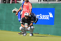 Hideto Tanihara (JPN) on the 18th green during Saturday's Round 3 of the 2018 Omega European Masters, held at the Golf Club Crans-Sur-Sierre, Crans Montana, Switzerland. 8th September 2018.<br /> Picture: Eoin Clarke | Golffile<br /> <br /> <br /> All photos usage must carry mandatory copyright credit (&copy; Golffile | Eoin Clarke)