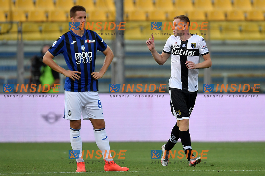 Dejan Kulusevski of Parma celebrates after scoring the goal of 1-0 during the Serie A football match between Parma Calcio and Atalanta BC at Ennio Tardini stadium in Parma (Italy), July 28th, 2020. Play resumes behind closed doors following the outbreak of the coronavirus disease. Photo Andrea Staccioli / Insidefoto
