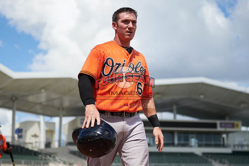 Baltimore Orioles Ben Breazeale (60) walks back to the dugout during a Florida Instructional League game against the Boston Red Sox on September 21, 2018 at JetBlue Park in Fort Myers, Florida.  (Mike Janes/Four Seam Images)