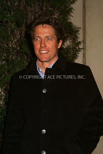 "Hugh Grant at the opening after-party of ""La Boheme"" on Broadway. New York, December 8, 2002. Please byline: Alecsey Boldeskul/NY Photo Press.   ..*PAY-PER-USE*      ....NY Photo Press:  ..phone (646) 267-6913;   ..e-mail: info@nyphotopress.com"