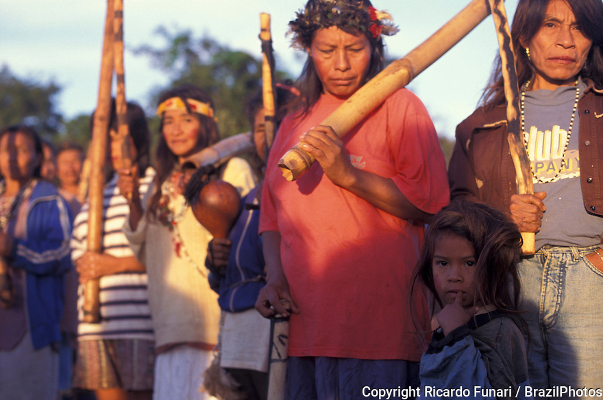 Brazil. Guarani - Kaiowas indigenous people. Community organizing. Women ready for war. Recovery of traditional territory. The indians face the armed authority of the farmers and long judicial battles for the demarcation and permanence in their lands. State: Mato Grosso do Sul.