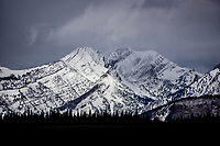 Winter storm clouds over beautiful 11,719 foot high Doubletop Peak in the Gros Ventre Mountains of Wyoming.