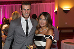 Gareth Bale with his girlfriend Emma Rhys Jones at the gala dinner.<br /> The Celebrity Cup 2015<br /> Celtic Manor Resort<br /> <br /> 04.07.15<br /> &copy;Steve Pope - SPORTINGWALES