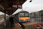 Train for Walton on Naze at platform, railway station, Colchester, Essex, England, UK