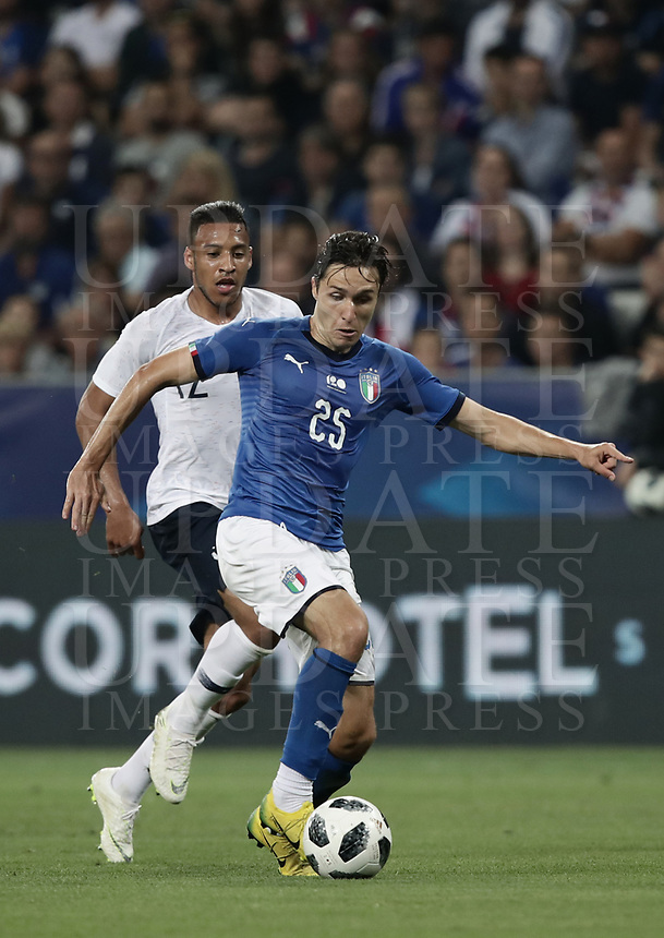 International friendly football match France vs Italy, Allianz Riviera, Nice, France, June 1, 2018. <br /> Italy's Federico Chiesa (r) in action with France's Corentine Tolisso (l) during the international friendly football match between France and Italy at the Allianz Riviera in Nice on June 1, 2018.<br /> UPDATE IMAGES PRESS/Isabella Bonotto