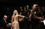 "Henry Aaronson, Mairead Nesbitt and Alyson Cambridge performing during the Performance Presentation of ""Rocktopia"" at SIR Studios on January 16, 2018 in New York City."