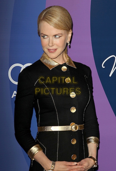 Nicole Kidman<br /> Variety's 5th Annual Power Of Women Event held at the Beverly Wilshire Four Seasons Hotel, Beverly Hills, California, USA, <br /> 4th October 2013.<br /> half length black velvet gold dress coat buttons belt collar<br /> CAP/ADM/KB<br /> &copy;Kevan Brooks/AdMedia/Capital Pictures