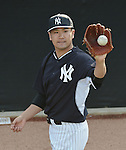 Masahiro Tanaka (Yankees), FEBRUARY 26, 2015 - MLB : Masahiro Tanaka of the New York Yankees practices pitching in the bullpen during the New York Yankees spring training camp in Tampa, Florida, United States. (Photo by AFLO)