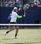 June 16th 2017, Nottingham, England; ATP Aegon Nottingham Open Tennis Tournament day 5;  A volley from Sam Groth of Australia as he defeats John-Patrick Smith of Australia in two sets