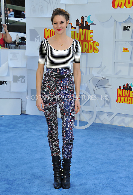 WWW.ACEPIXS.COM<br /> <br /> April 12 2015, LA<br /> <br /> Shailene Woodley arriving at the 2015 MTV Movie Awards at the Nokia Theatre L.A. Live on April 12, 2015 in Los Angeles, California.<br /> <br /> By Line: Peter West/ACE Pictures<br /> <br /> <br /> ACE Pictures, Inc.<br /> tel: 646 769 0430<br /> Email: info@acepixs.com<br /> www.acepixs.com