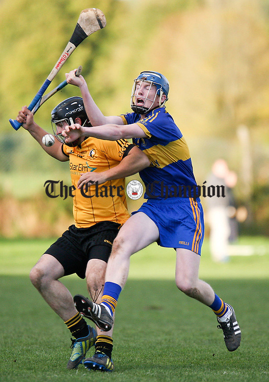 131012.Newmarkets Niall O'Connor clashes with Clonlaras Tomas o'Donovan during their SHC Semi Final at Sixmilebridge.