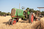 EDGE & TA Branch 158 threshing bee near Woodland, CA..Farm fresh 1940s Oliver Rowcrop 60 with an historic reaper in pull