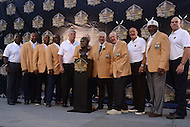 Canton, Ohio - August 6, 2015: Former NFL player Mick Tingelhoff poses with Hall of Fame members of the Minnesota Vikings during the 2015 Pro Football Hall of Fame enshrinement in Canton, Ohio, August 6, 2015. Tingelhoff played with the Minnesota Vikings from 1962 to 1978 and helped the Vikings attain 10 divisional titles in an 11-season span from 1968 to 1978  (Photo by Don Baxter/Media Images International)