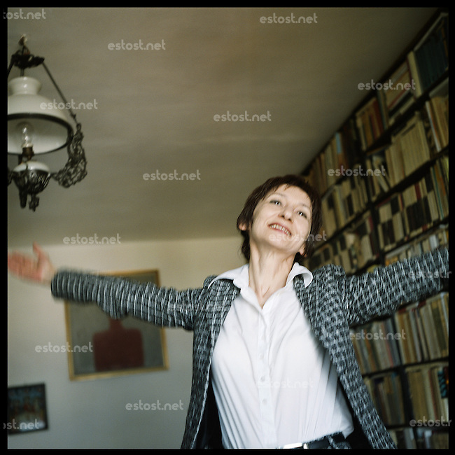 """ROMANIA, Cluj, 10.05..Doctor es philosophy, Marta Petreu is teacher at the faculty of Cluj. Essayist, chief editor of the literary journal """"Apostrof"""" and poet, she has published, among others, """"Like in a draw of Escher"""" and """"Shameless Poems"""". Born in 1955, her poetic imaginary is deeply influenced by the religious conflits which have taken place in her own family..© Bruno Cogez / ostphoto"""