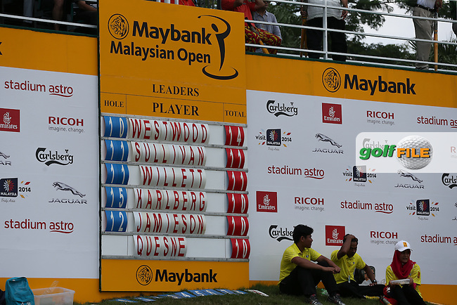 Scoreboard to the rear of the 14th during Round Three of the 2014 Maybank Malaysian Open at the Kuala Lumpur Golf & Country Club, Kuala Lumpur, Malaysia. Picture:  David Lloyd / www.golffile.ie