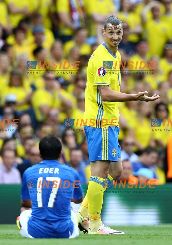 Zlatan Ibrahimovic Sweden and Eder (I)<br />Toulouse 17-06-2016 Stade Velodrome Footballl Euro2016 Italy - Sweden  / Italia - Svezia Group Stage Group E. Foto Matteo Ciambelli / Insidefoto