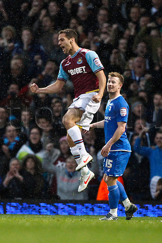 09.04.2012. East London, England. Sam BALDOCK of West Ham United celebrates the award of the penalty that allowed his team to draw level during the npower Championship match between West Ham United and Birmingham City at Upton Park.  Final score: West Ham United 3-3 Birmingham City.