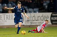 30th November 2019; Dens Park, Dundee, Scotland; Scottish Championship Football, Dundee Football Club versus Queen of the South; Callum Moore of Dundee goes past Dan Pybus of Queen of the South  - Editorial Use