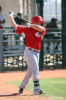 Yonder Alonso of the Cincinnati Reds plays in a minor league spring training game against the Cleveland Indians at the Indians complex on March 26, 2011 in Goodyear, Arizona. .Photo by:  Bill Mitchell/Four Seam Images.