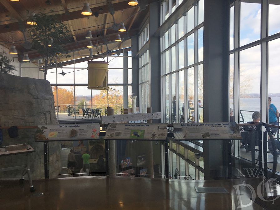 NWA Democrat-Gazette/FLIP PUTTHOFF<br />Photographs, video and panels at the Dewey Short Visitor Center, seen here Nov. 5 2017, reveal why and how big reservoirs on the White River were built.