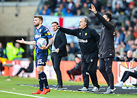 Leeds United manager Marcelo Bielsa shouts instructions to his team from the technical area<br /> <br /> Photographer Alex Dodd/CameraSport<br /> <br /> The EFL Sky Bet Championship Play-off  First Leg - Derby County v Leeds United - Thursday 9th May 2019 - Pride Park - Derby<br /> <br /> World Copyright © 2019 CameraSport. All rights reserved. 43 Linden Ave. Countesthorpe. Leicester. England. LE8 5PG - Tel: +44 (0) 116 277 4147 - admin@camerasport.com - www.camerasport.com