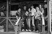 The Hardy/Tanecka/McCord family in high contrast B&W. The proud new parents center are Joseph & Diane Hardy.