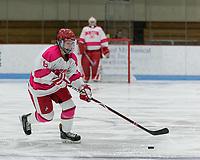 "Boston, Massachusetts - December 30, 2018: NCAA Division I. Pennsylvania State University (Penn State) (blue) tied Boston University (white), 1-1, at Walter Brown Arena, ""Skating Strides Game."""