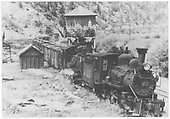 North facing view of K-27 #455 and ten wheeler #22 with a southbound freight at Brown station.<br /> RGS  Brown, CO  Taken by Moedinger, William - 1941