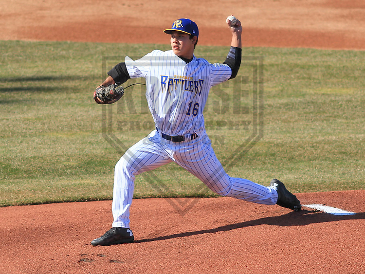 APPLETON - April 2015: pitcher Kodi Medeiros (16) of the Wisconsin Timber Rattlers during a game against the Peoria Chiefs on April 12th, 2015 at Fox Cities Stadium in Appleton, Wisconsin. (Photo Credit: Brad Krause)