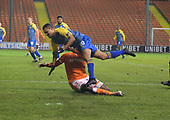 18/12/18 The Emirates FA Cup, 2nd Round Replay Blackpool v Solihull Moor<br /> <br /> Donervon Daniels tackles Jermaine Hylton