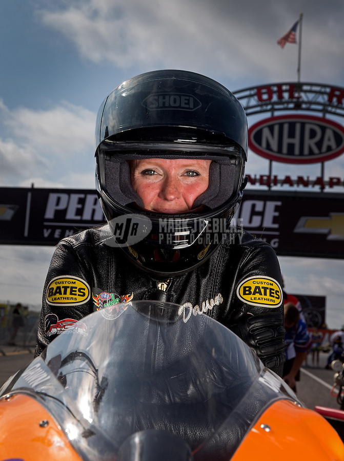 Sept. 1, 2013; Clermont, IN, USA: NHRA pro stock motorcycle rider Dawn Minturn during qualifying for the US Nationals at Lucas Oil Raceway. Mandatory Credit: Mark J. Rebilas-