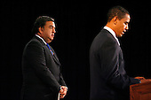 Chicago, IL - December 3, 2008 -- United States President-elect Barack Obama (R) addresses reporters while Secretary of Commerce designee and New Mexico Governor Bill Richardson stands at his side at news conference in Chicago on December 3, 2008. .Credit: Brian Kersey - Pool via CNP