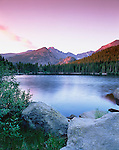 summer, sunrise, Bear Lake, Longs Peak, Rocky Mountain National Park, Colorado
