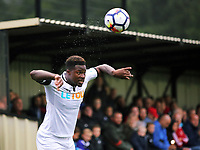 Pictured: Tyler Reid of Swansea takes a throw in. Friday 11 August 2017<br /> Re: Premier League 2, Division 1, Swansea City U23 v Liverpool U23 at the Landore Training Ground, Swansea, UK