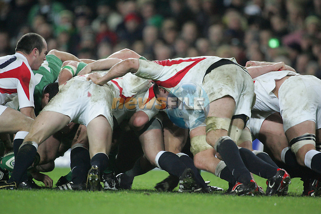 Dublin Ireland. 24/2/07 Croke Park Stadium..Ireland V England in the 6 Nations..England Scrum..Photo: Fran Caffrey/ Newsfile.