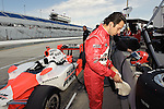 May 30 2009: IndyCar driver and three-time Indianapolis 500 winner Helio Castroneves prepares for  practice for the ABC Supply Company A.J. Foyt 225 at the Milwaukee Mile in West Allis, WI.