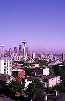 Architecture of the Space Needle and the city of Seattle and Mt Rainier  in Pacific Northwest city of Seattle, Washinton, USA