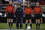 04 December 2009: Match officials. From left: Assistant Referee David Bragg, Alternate Official Stephanie Toth, Match Referee Veronica Perez, Assistant Referee Corey Rockwell. The University of North Carolina Tar Heels defeated the Notre Dame University Fighting Irish 1-0 at the Aggie Soccer Complex in College Station, Texas in an NCAA Division I Women's College Cup Semifinal game.