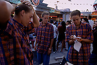 Triplet boys Derek, Dustin and Darren Kiett? Klett? in Pomona, California at the Los Angeles County Fair. They competed in the twins/triplets competition.