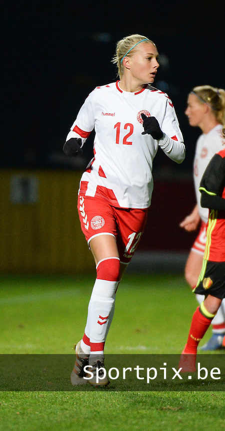 20161128 - TUBIZE ,  BELGIUM : Danish Stine Larsen pictured during the female soccer game between the Belgian Red Flames and Denmark , a friendly game before the European Championship in The Netherlands 2017  , Monday 28 th November 2016 at Stade Leburton in Tubize , Belgium. PHOTO SPORTPIX.BE | DIRK VUYLSTEKE